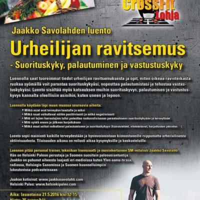 Urheilijan ravitsemus – seminaari CrossFit Lohjalla 21.5.2016